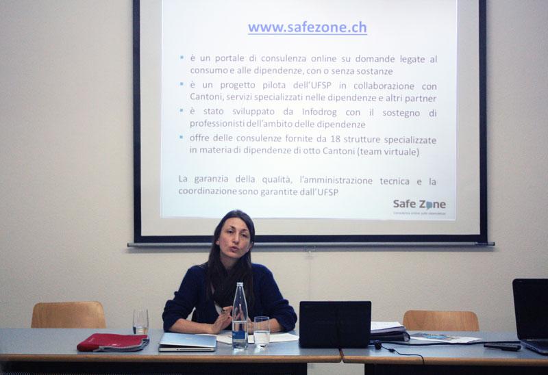 Lucia Galgano, collaboratrice scientifica Infodrog e coordinatrice del progetto Safe Zone nella Svizzera italiana è relatrice della serata.